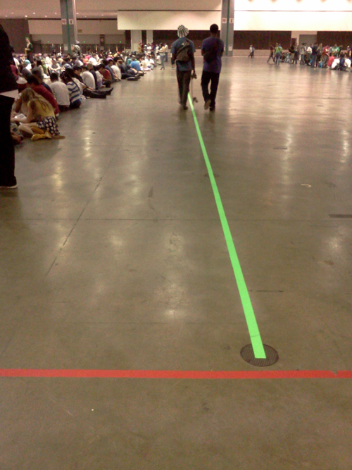 Neon Trade Show Tape keeps Anime Expo fans happy even while waiting in line!